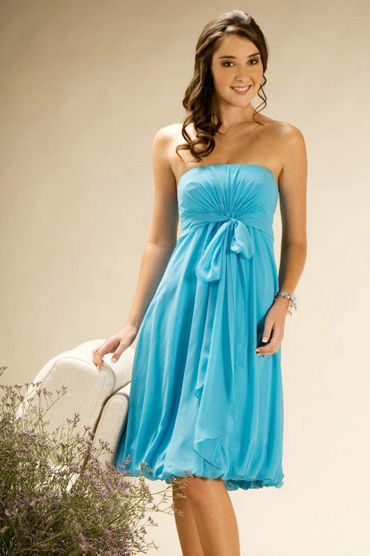 Strapless Ribbon Knee Length Cheap Blue Maternity Bridesmaid Dress