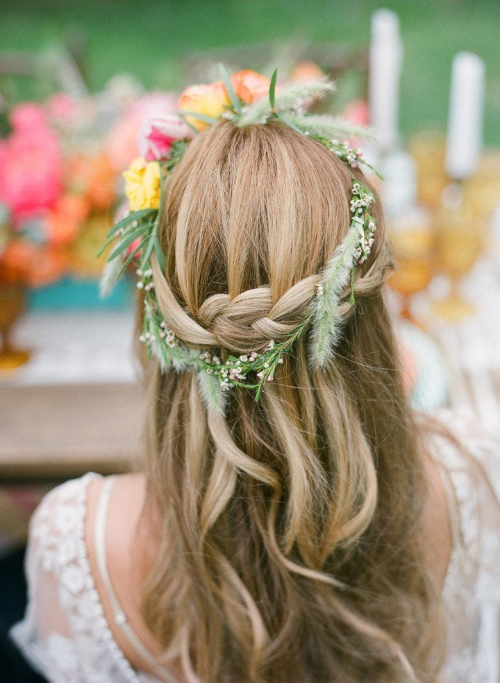 Rustic-Half-Up-Half-Down-Braided-Wedding-Hairstyle-with-Wide-Flowers