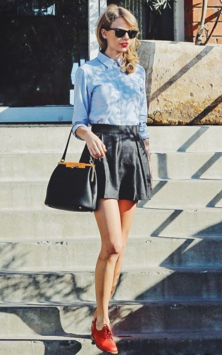 School-girl-look-leather-skirt