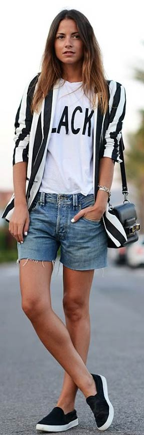 Striped-Blazer-Denim-Shorts-Outfit