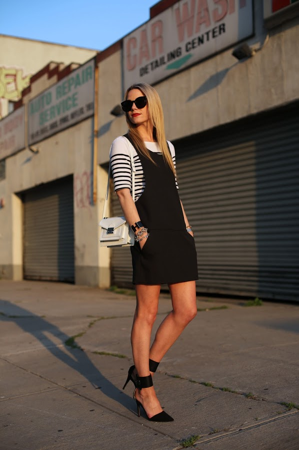 apron-dress-and-striped-tee-with-ankle-strap-shoes