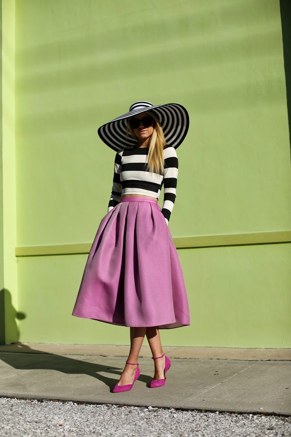 midi-skirt-and-striped-top-with-ankle-strap-shoes