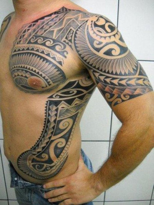tribal-tattoo-on-chest-shoulder-and-rib