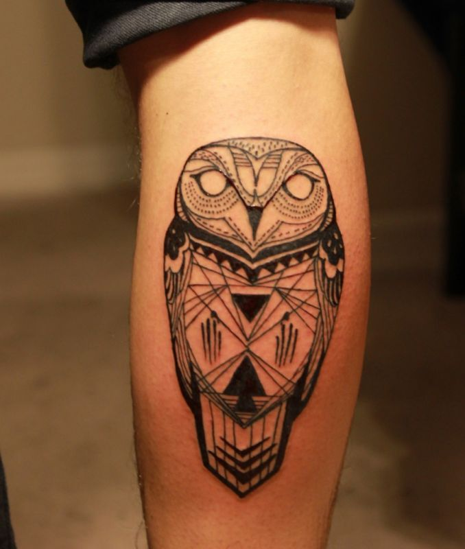 calf-tattoo-owl