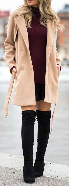 winter-fashion-camel-coat-burgundy-knit-dress