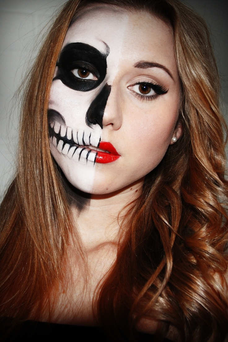 Easy Half Face Halloween Makeup
