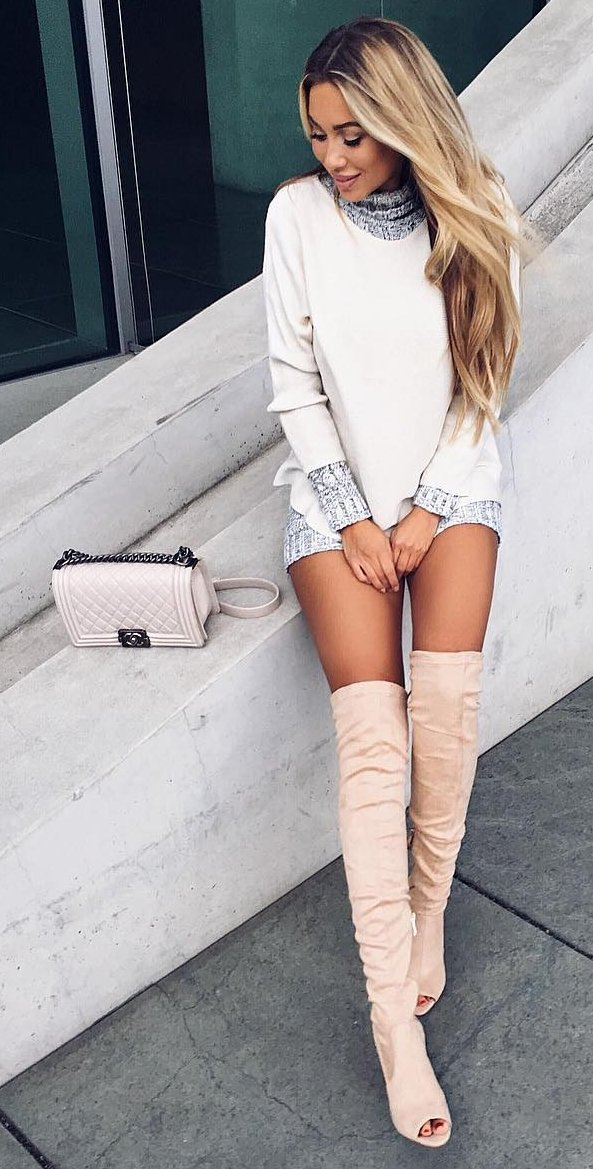 knee-length-boots-short-white-dress