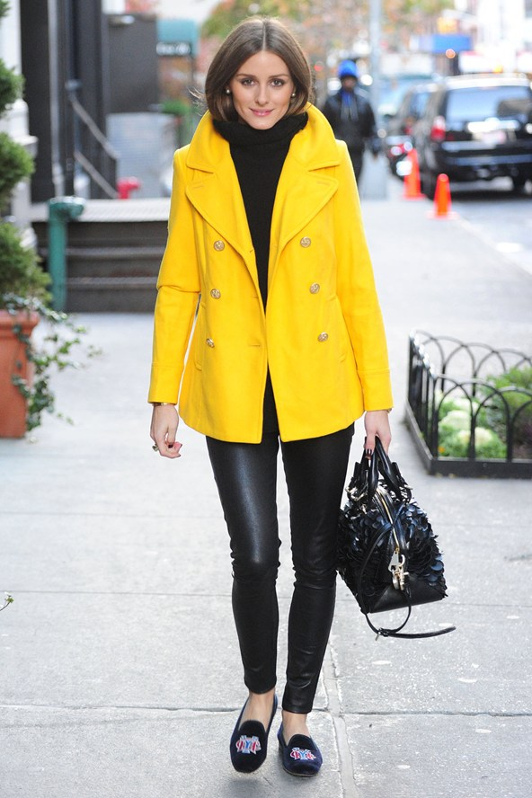 a-canary-yellow-pea-coat-black-leather-skinnies-and-a-roll-neck-looks-awesome