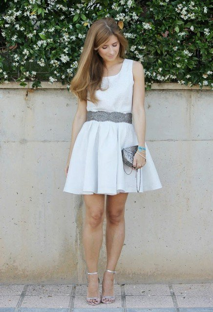 pretty-white-dress-outfit-idea-with-silver-shoes