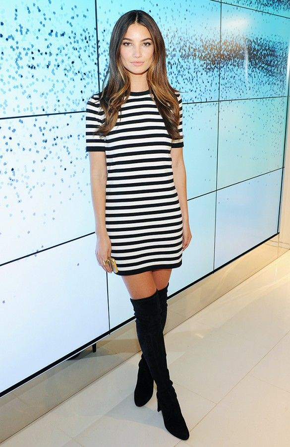 striped-dress-and-knee-high-boots